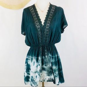 T Party tie dye boho embroidered lace top